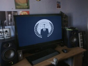"Computer monitor with ""Anonymous"" logo"