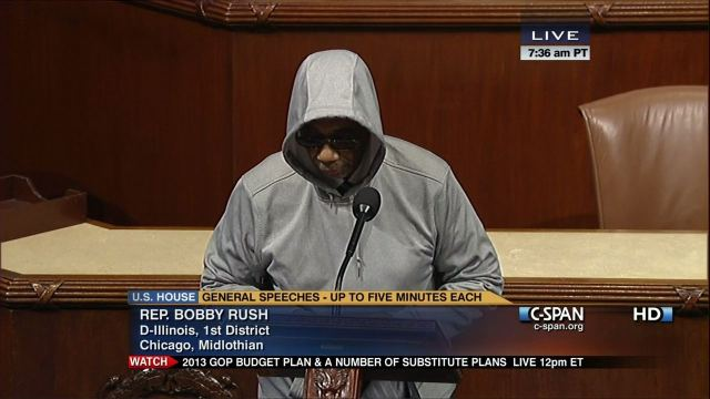 House Representative Bobby Rush Wearing a Hoodie