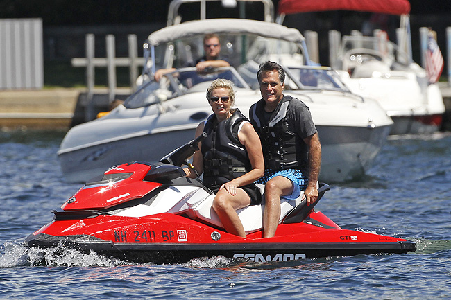 Mitt and Ann Romney on a Sea-Doo watercraft