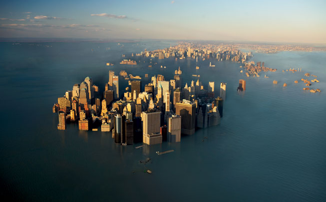 New York flooded with water