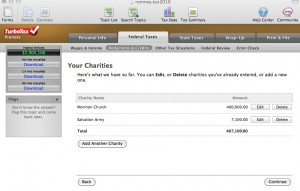 Turbotax screenshot of Romney's charitable deductions: