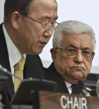 Palestinian Leader Mahmoud Abbas looks unhappy at UN