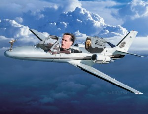 Romney's convertible jet with dog carrier